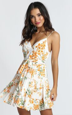 Dreamgirl Dress In Orange Floral