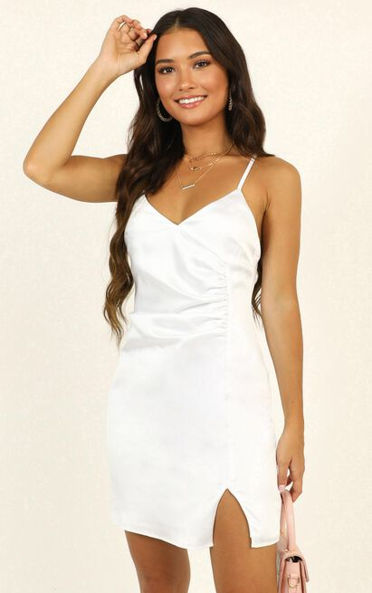 Saw The Light Dress in white satin - 14 (XL), White, hi-res image number null