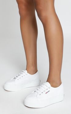 Superga - 2790 ACOTW Linea Up And Down Platform Sneakers In White Canvas