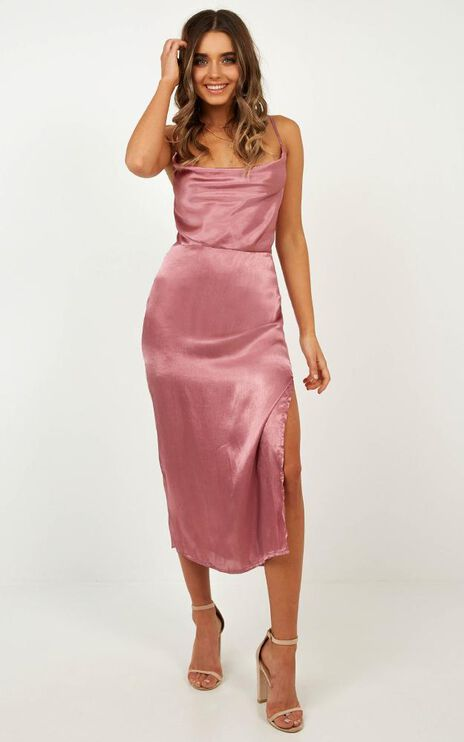 In My Eyes Dress In Rose Satin