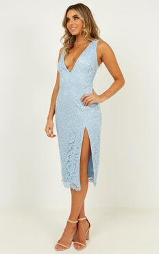 My Kind of Party Dress In Light Blue Lace