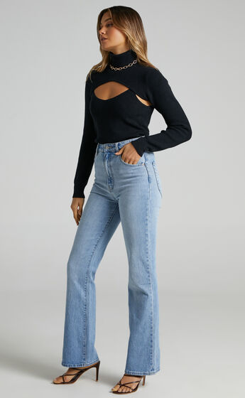 Keagan Knit Long Sleeve Top with High Neck in Black