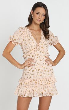 Penelope Tiered Mini Dress in cream floral