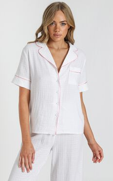 Sleeping In Pyjama Top in White Gingham Check