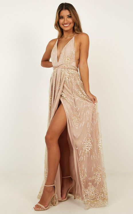 New York Nights Maxi Dress In Gold