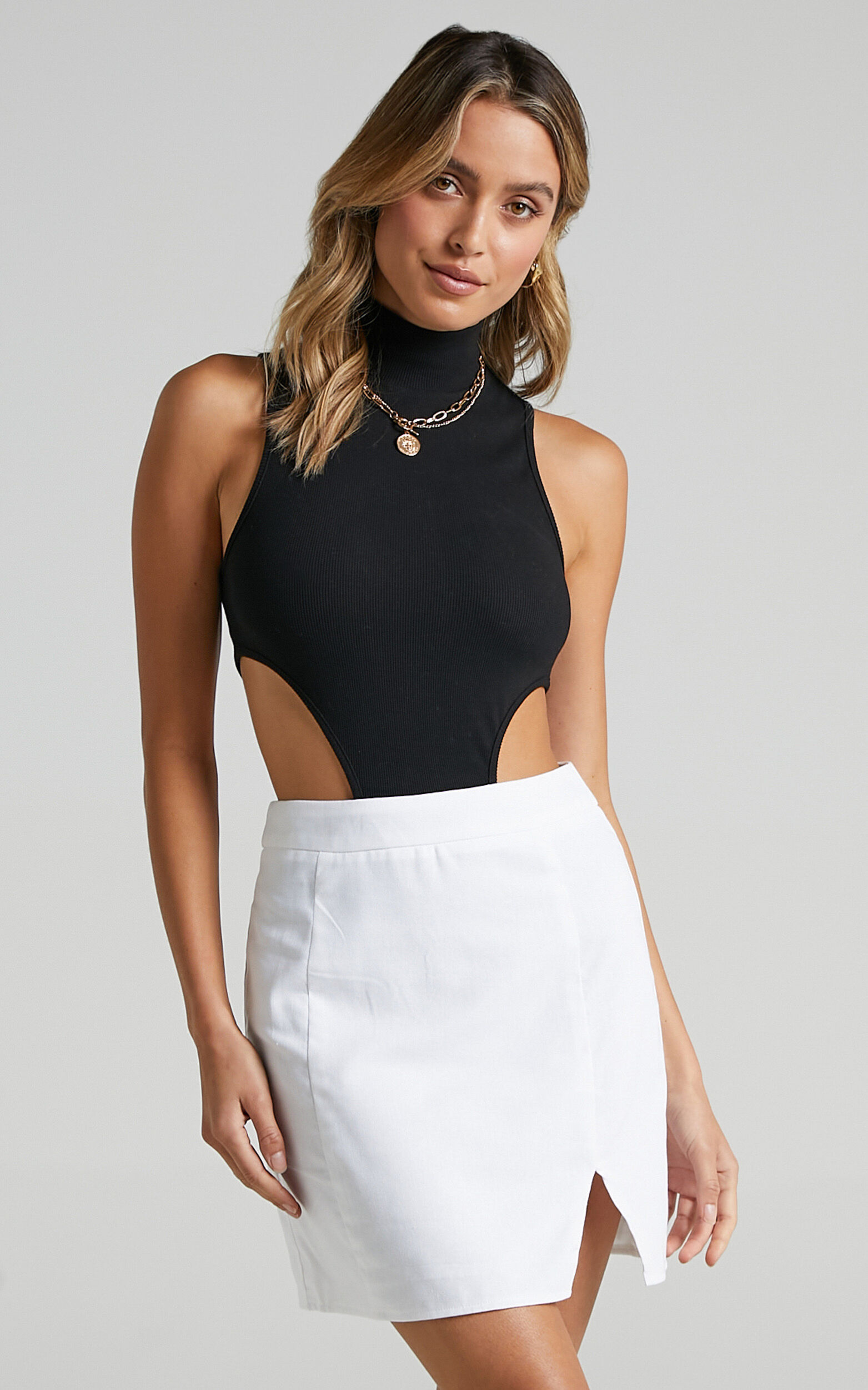 International Babe Mini Skirt in White Linen Look - 20, WHT9, super-hi-res image number null
