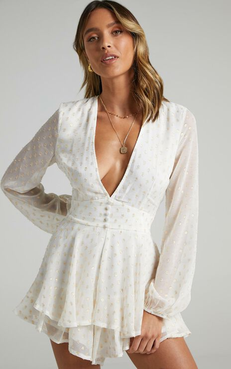 Lets Run Away Playsuit In White