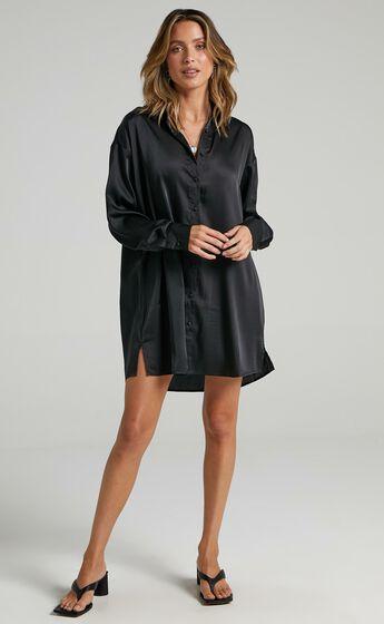 Desiree Dress in Black Satin