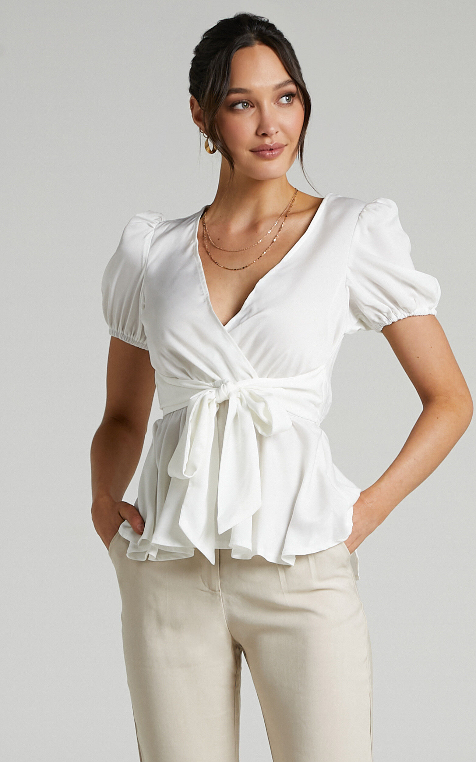 Betts Puff Sleeve Asymmetric Tie Front Peplum Top in White - 06, WHT1, super-hi-res image number null
