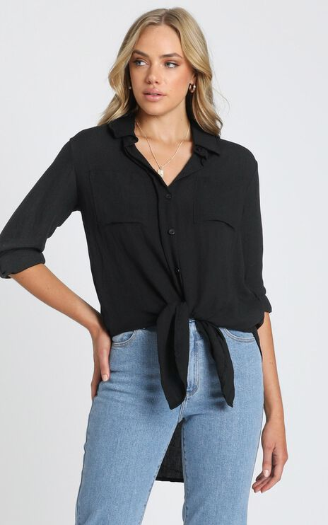 Trish Button Up Shirt in Black