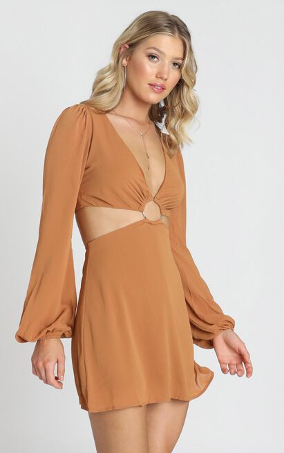 Erika Dress in ginger - 8 (S), Brown, hi-res image number null