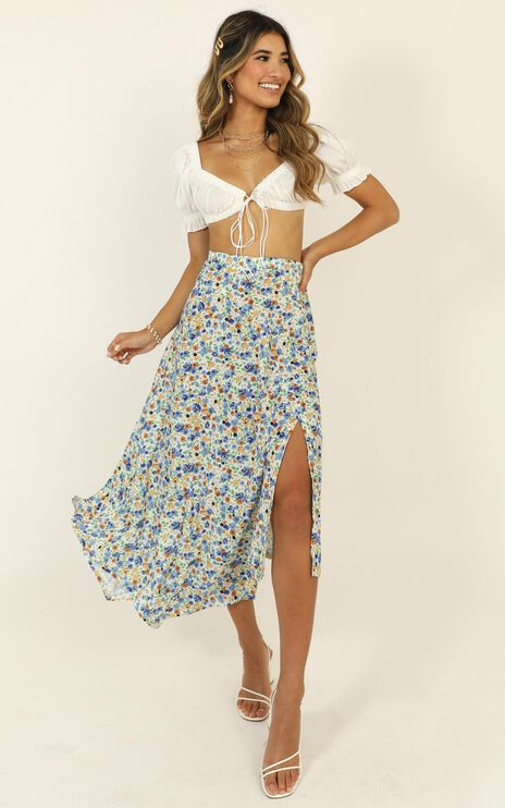 She Still Blooms Skirt In Blue Floral