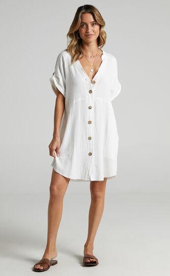 Rosalind Button Through Dress in White