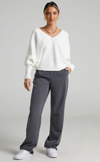Winning At Life Knit Sweater in Cream