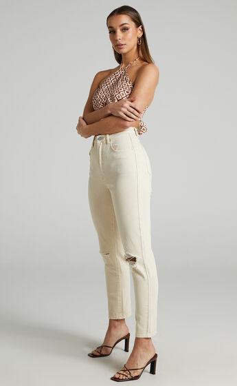 Abrand - A 94 High Slim Jean in Ecru Rip