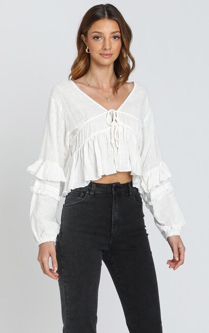 Rana Trim Detail Top in White - 6 (XS), White, hi-res image number null