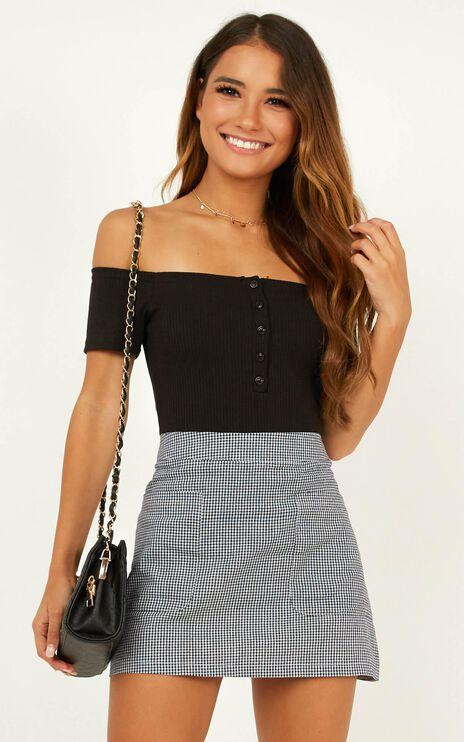Lean On Me Skirt In Black Gingham