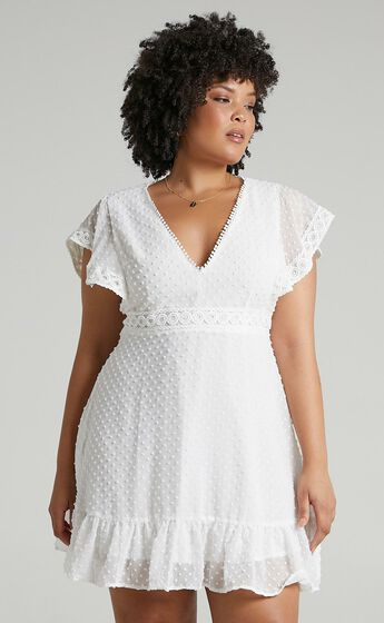 Once Upon A Daydream V Neck Mini Dress in White