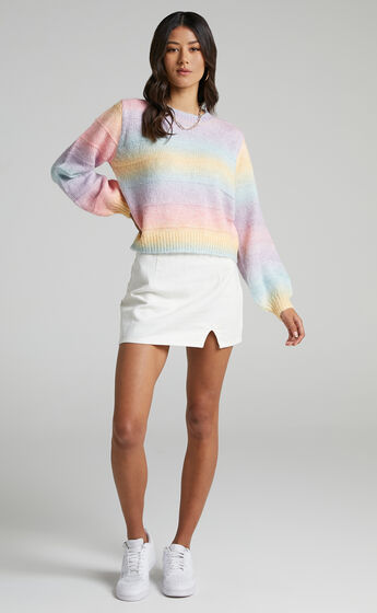 Over The Rainbow Long Sleeve Cable Knit Jumper in Multi