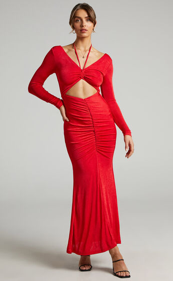 Lina long sleeve maxi dress with cut out in Red