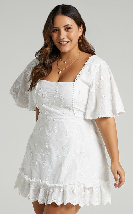 Fancy A Spritz Dress in White Embroidery