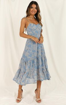 Quit Talking Dress In Blue Floral