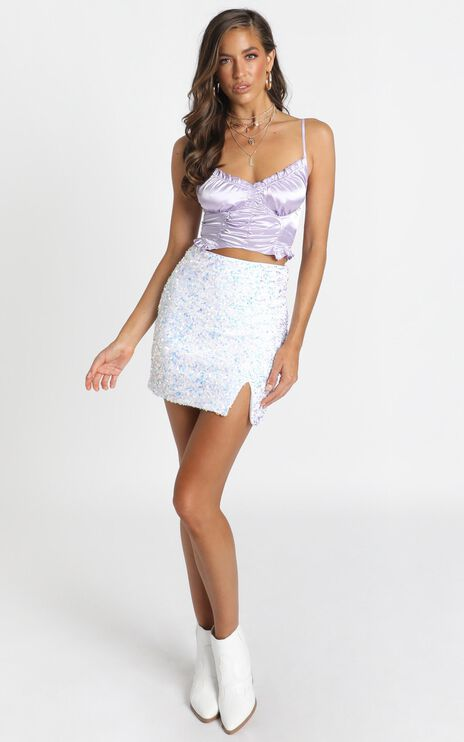 Everything We Need Skirt In Silver Sequin