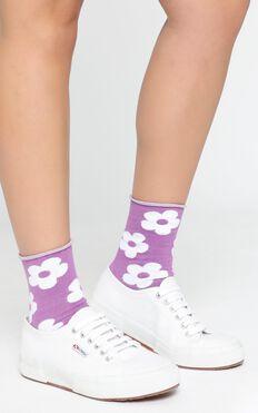 Last Chance Flower Socks in Purple
