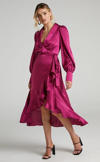 Rada Long Sleeve Frill Wrap Midi Dress in Berry