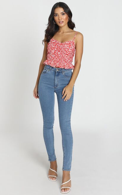 Shes So Cute Top In Red Floral - 14 (XL), Red, hi-res image number null