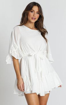 Adrianna Ruffle Mini Dress In White