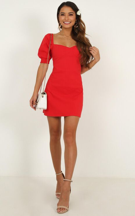 Sneaky Chatter Dress in Red Linen Look