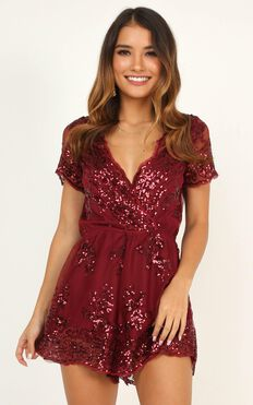 Baby Come Back Playsuit In Burgundy Sequins