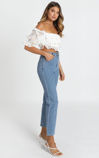 Collette Frill Top in white floral - 12 (L), White, hi-res image number null