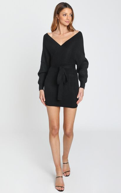 Dont Fall Down Knit Dress In black - 6 (XS), Black, hi-res image number null