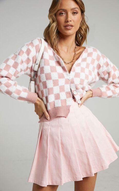 Lylah Cardigan in Pink Check