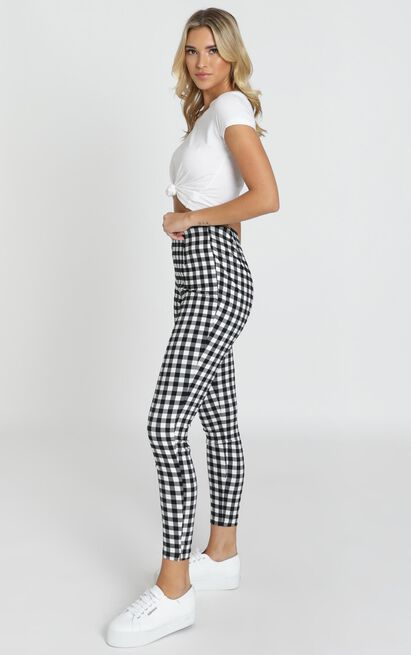 Business District Ankle Grazer Pants In Black Gingham - 4 (XXS), Black, hi-res image number null