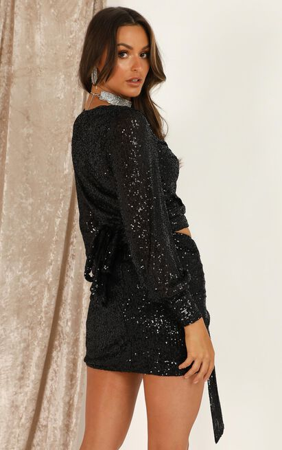 Lioness - Diamonds In The Sky Skirt In Black Sequin- 12 (L), Black, hi-res image number null