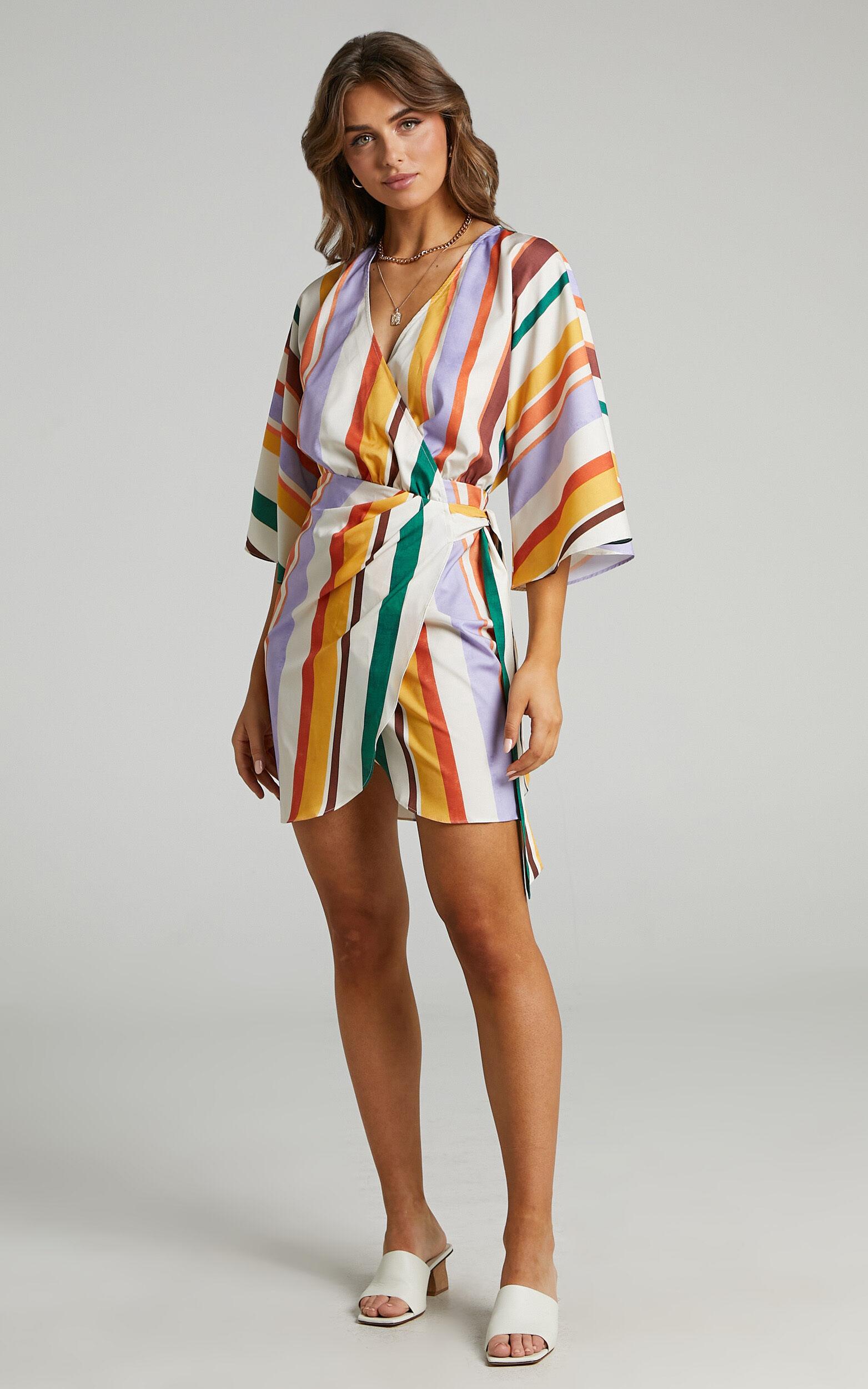 Adelina V Neck Wrap Dress in Multi Stripe - 04, MLT1, super-hi-res image number null