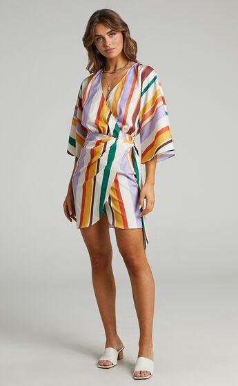 Adelina V Neck Wrap Dress in Multi Stripe