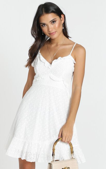 Etta Broderie Anglaise Dress in white - 12 (L), White, hi-res image number null