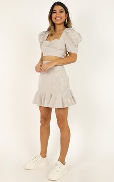 Burning Up Two Piece Set In Nude Stripe Linen Look