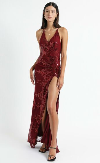 Out Till Dawn Maxi Dress in Wine Sequin