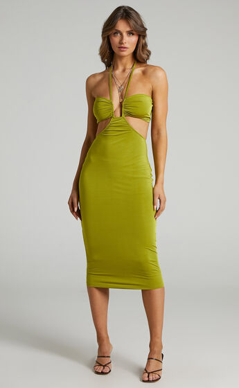 Heath Cut Out Halter Neck Midi Dress in Chartreuse