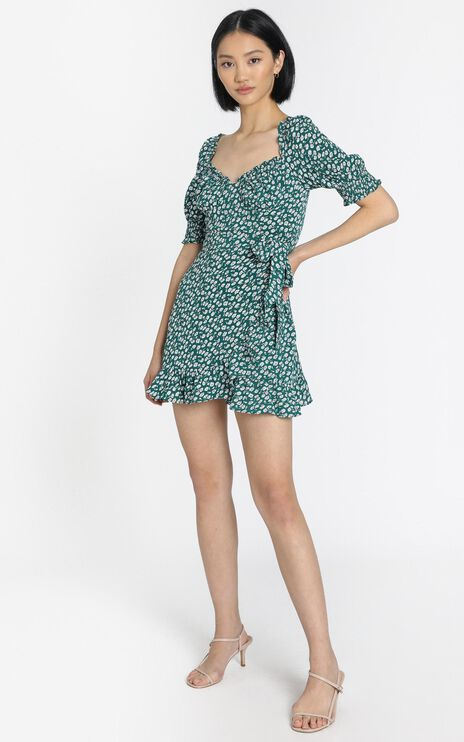 Evelina Dress in Green Floral