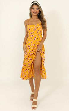 Memories Remain Dress In Mustard Floral