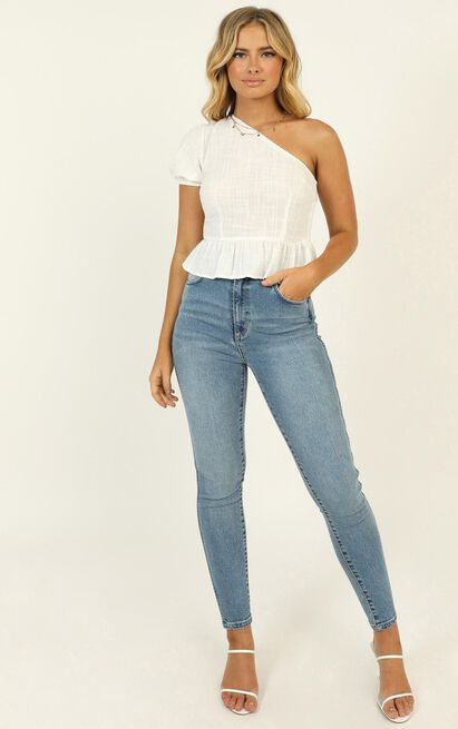 Sweet Harmony One Shoulder Top in white - 12 (L), White, hi-res image number null