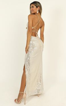 Get With The Times Maxi Dress In Silver Sequin