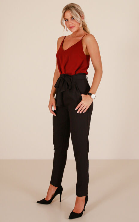 Influence Pants In Black Linen Look
