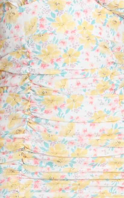Feet On The Ground dress in white floral - 12 (L), White, hi-res image number null